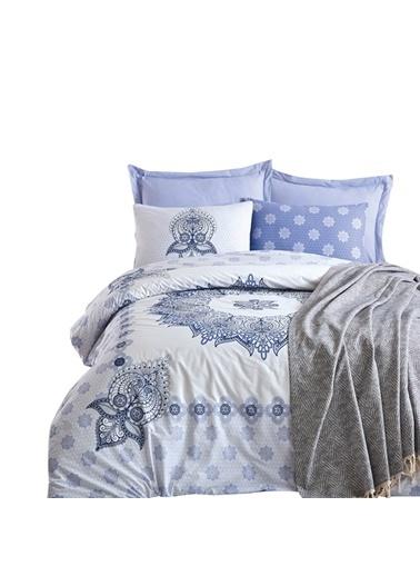 Cotton Box Ranforce Çift Kisilik Nevresim Tk+Yatak Örtüsü Oleda Mavi Mavi